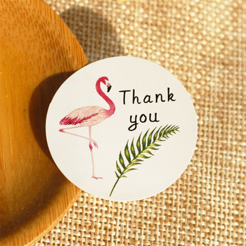 108pcs Flamingo Thank You Paper Stickers Candy Dragees Gift Box Mariage Wedding Party DIY Craft Chocolate Wrapping Paper Labels image