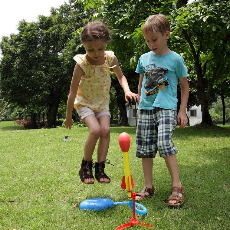 Kids Air Pressed Rocket Launcher Step Pump Foot Toy Rocket LED Outdoor Light NJA