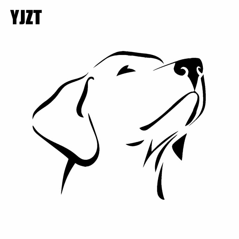 YJZT 14CM*12CM Labrador Retriever Waterproof Vinyl Car Sticker Scratched Shelter Black/Silver C2-3141