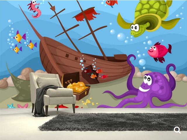 Custom Children Wallpaper Sea Life 3d Cartoon Mural For