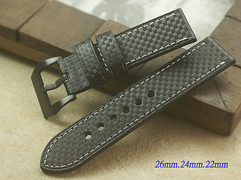 Upscale Genuine leather bracelet Watchband Carbon fiber grain 20mm 22mm24mm 26mm watch band strap accessories buckle for Panerai upscale genuine leather bracelet watchband carbon fiber grain 20mm 22mm24mm 26mm watch band strap accessories buckle for panerai