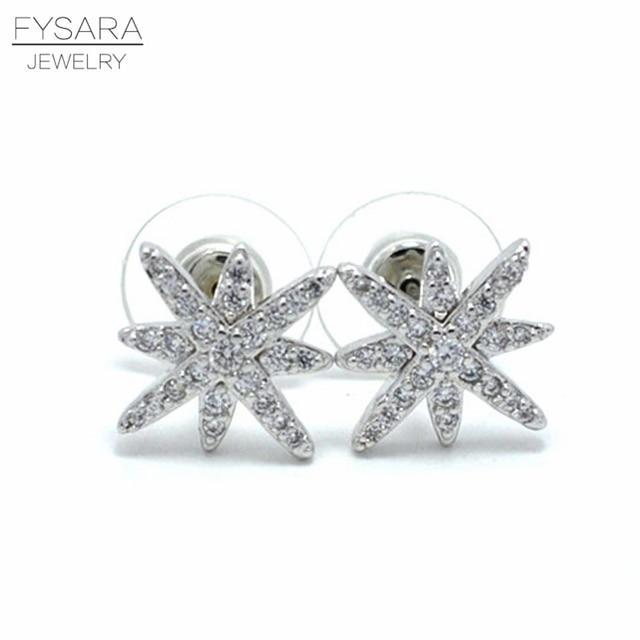 Fysara Fashion Famous Brand Stud Earrings Silver Micro Pave Setting Cubic Zirconia David Star Gear