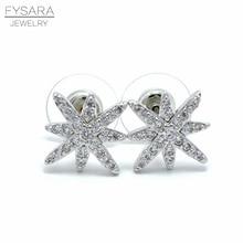 FYSARA Fashion Famous Brand Stud Earrings Silver Micro Pave Setting Cubic Zirconia Earrings David Star Gear Jewelry For Women