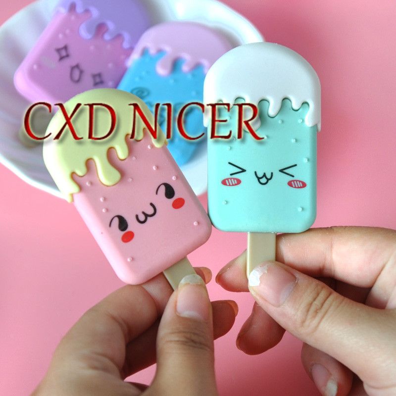 5pcs/lot Ice Cream Pencil Eraser Pink Blue Popsicles Cute Correction Rubber Nice Office School Supplies Revise Tool QM9 50pcs lot ice cream popsicles sticks of wood ice cream sticks popsicle sticks diy craft materials length 150mm