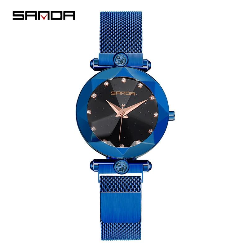 Starry Sky Women's Luxury Watch Diamond Metal Mesh Band Stainless Steel Analog Quartz Wristwatch Hot Sale 2018 Female Watches 3