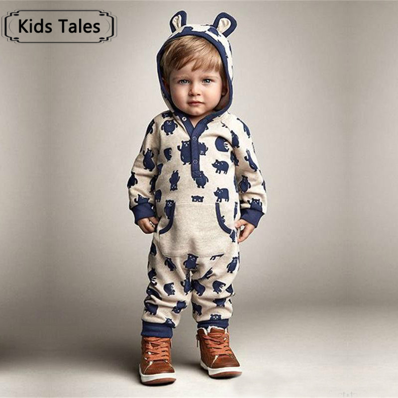Children Baby Boys Girls Warm Infant Sliders Overalls Cute 2 color Bear With Hooded Cotton Clothes Suits Autumn SR138