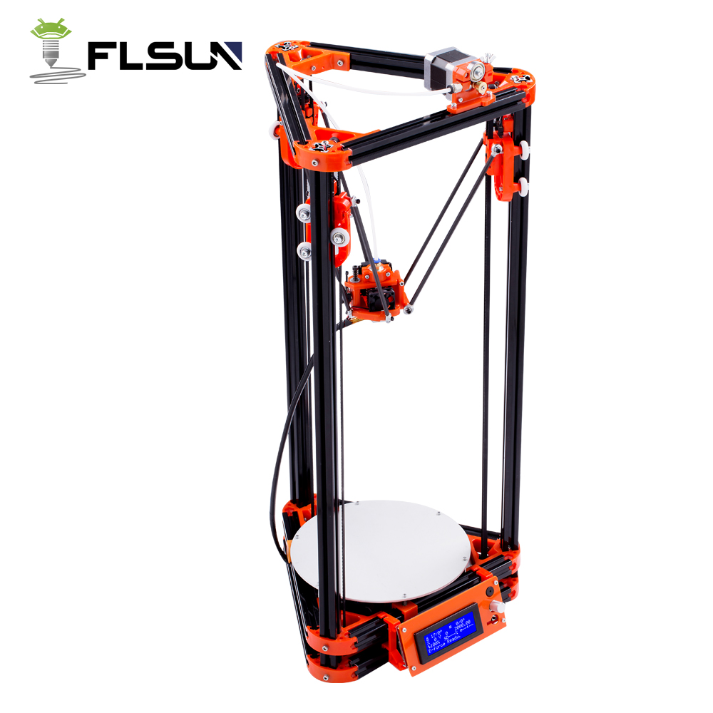 Shipping From Russian Flsun Kossel 3D Printer Printing Area 240*285mm With Heated Bed Auto Leveling flsun 3d printer big pulley kossel 3d printer with one roll filament sd card fast shipping