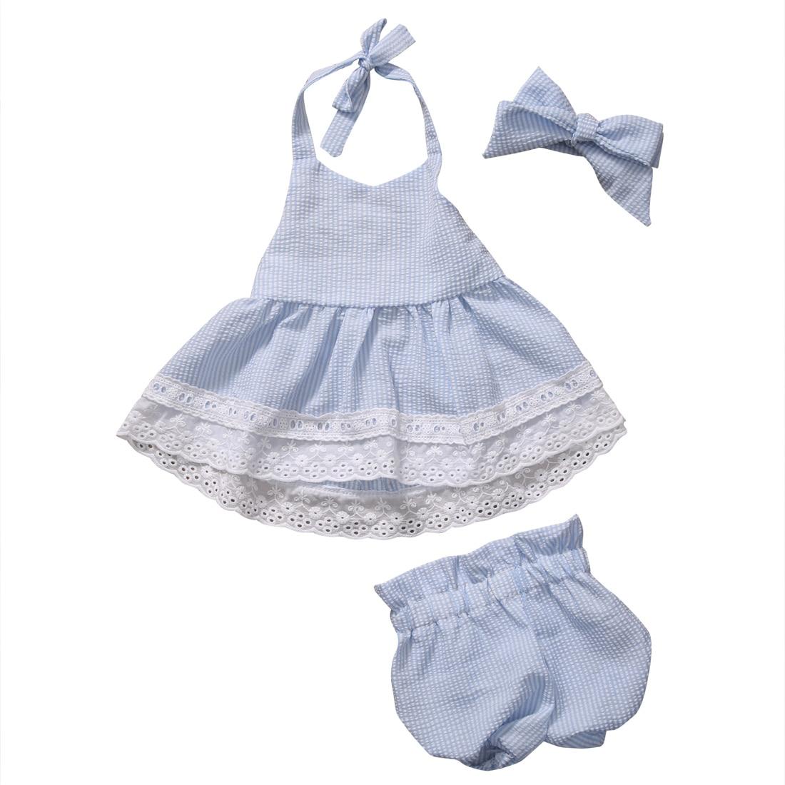 2018 New Fashion Baby Clothes Sets Newborn Kids Baby Girls Bowknot Striped Halter Tops Lace Dress Shorts Pants Headband 3Pcs Set