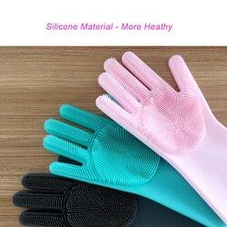 1 pairs silikonowa skrobaczka do naczyń rękawice gumowe Food Grade gąbka do czyszczenia wielofunkcyjne rękawice do mycia naczyń magiczne rękawice silikonowe