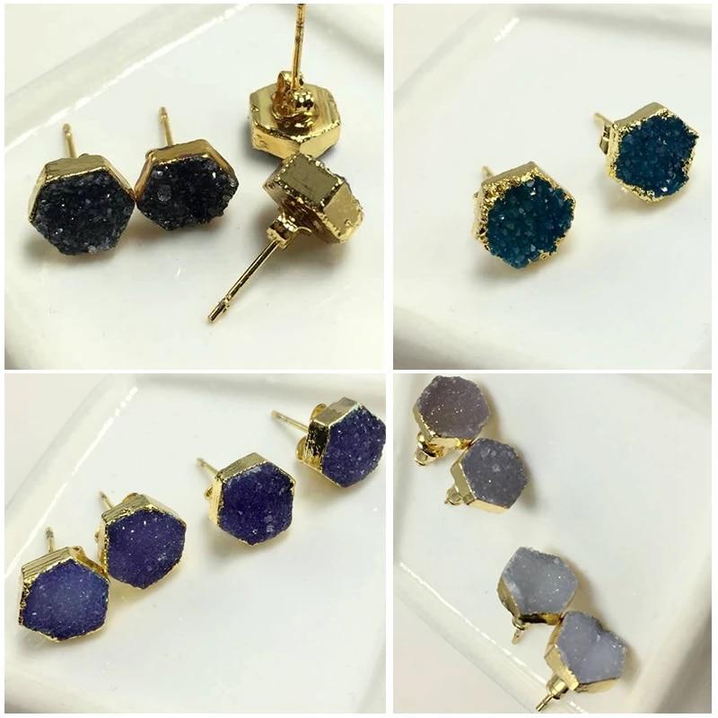 Black Druzy Stud Earrings Sterling Silver 8mm Stone Beaded Jewelry Quartz Titanium Druzy