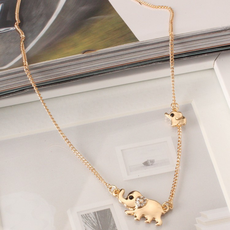 Mossovy 2 Delicado Elefante Colares Pingentes Encantos de Zircônia Collier Femme Longo Minimalista Colar De Jóias para o Melhor Amigo