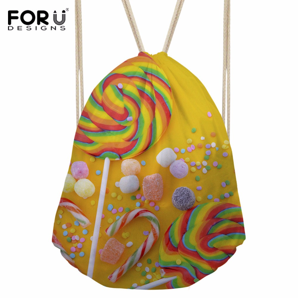 FORUDESIGNS Drawstring Bag 3D Printing Candy Polyester Teenagers Backpack Unisex Travel Storage Package Mini Shopping Bags