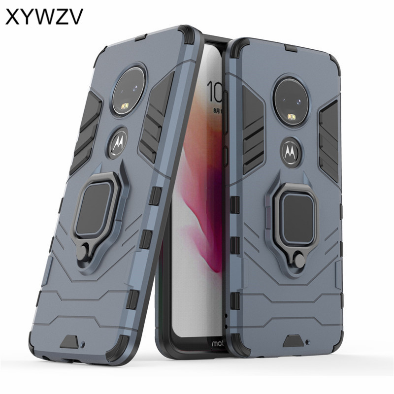 Image 2 - For Motorola Moto G7 Case Shockproof Cover Hard PC Armor Metal Finger Ring Holder Phone Case For Motorola Moto G7 For Moto G7-in Fitted Cases from Cellphones & Telecommunications