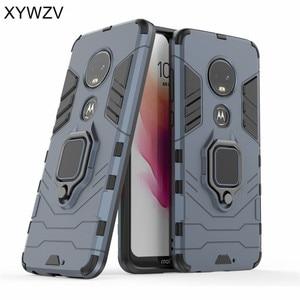 Image 2 - For Motorola Moto G7 Case Shockproof Cover Hard PC Armor Metal Finger Ring Holder Phone Case For Motorola Moto G7 For Moto G7