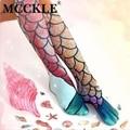 MCCKLE mujeres sexy sirena calcetines rodilla divertido 3D patrón de escamas de pescado playa calcetines damas muslo cosplay ocasional regalo de Christma