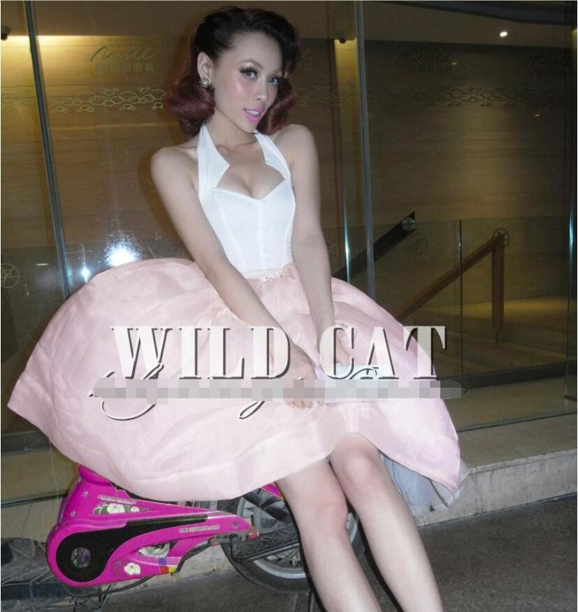 Элегантный и сладкий ноутбук розовый сетки юбка пачка Модные сладкий темперамент ретро Праздничная юбка - 2