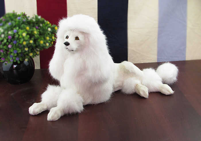 big new simulation lying dog toy lovely white poodle model gift about  15x40x21cm