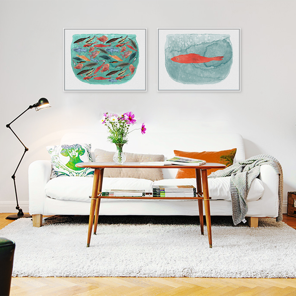 Modern Watercolor Sea Fish Tank Art Prints Poster Cartoon Animal ...