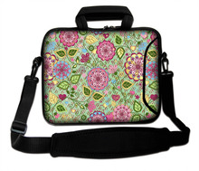 "Neoprene Netbook Baldric Sash Bag Multicolored Flowers Type Laptop Handle Carring Shoulder Pouch10""13""14""15""17''  For Toshiba HP"