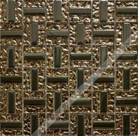 [Colorful Mosaic] Strip Gold Glass Mosaic Tile for Kitchen Backsplash.