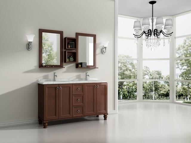 1500x600x850mm dubbele wastafel massief houten badkamer ...