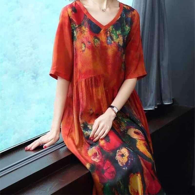 المرأة فستان حجم كبير الصيف نمط طباعة الكتان الملونة الإناث فضفاضة عادية ريترو خمر فساتين كبيرة الحجم