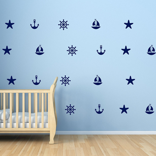 Sailboat Anchors Decals Starfish Helm Beach Wall Decals Summer Holiday  Nautical Wall Stickers Vinyl Wallpaper Wall