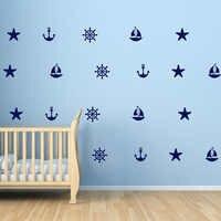 Segel Anker Decals Starfish Helm Strand Wandtattoos Sommerurlaub Nautischen Wandaufkleber Vinyl Tapete Wandkunst 625 P