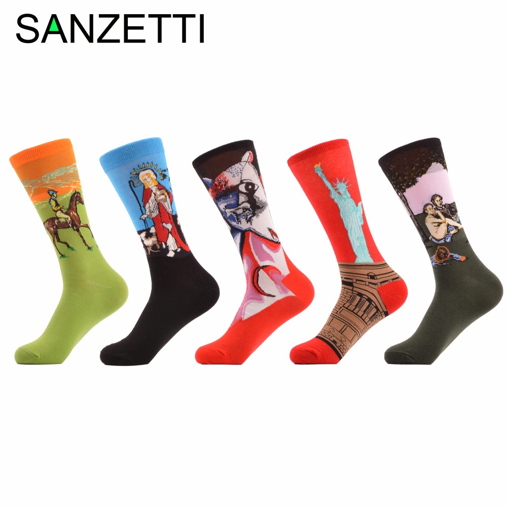 SANZETTI 5 pairs/lot Mens Funny Jesus Oil Painting Statue Of Liberty Combed Cotton Socks Casual Crew Socks Fashion For Gift