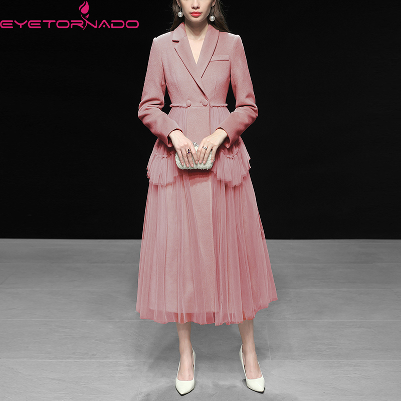 Vintage Woolen Coat For Woman 2019 Winter Thicken High Quality Twill Wool Topcoat Female Long Collect