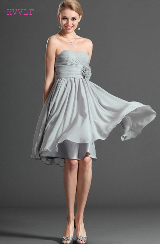 Gray 2019 Cheap   Bridesmaid     Dresses   Under 50 A-line Sweetheart Chiffon Flowers Short Mini Backless Wedding Party   Dresses