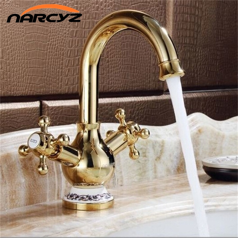 Soild Brass Faucets Golden Finish With Blue and White Porcelain Double Handles Basin Crane Mixer Tap XT820 pastoralism and agriculture pennar basin india
