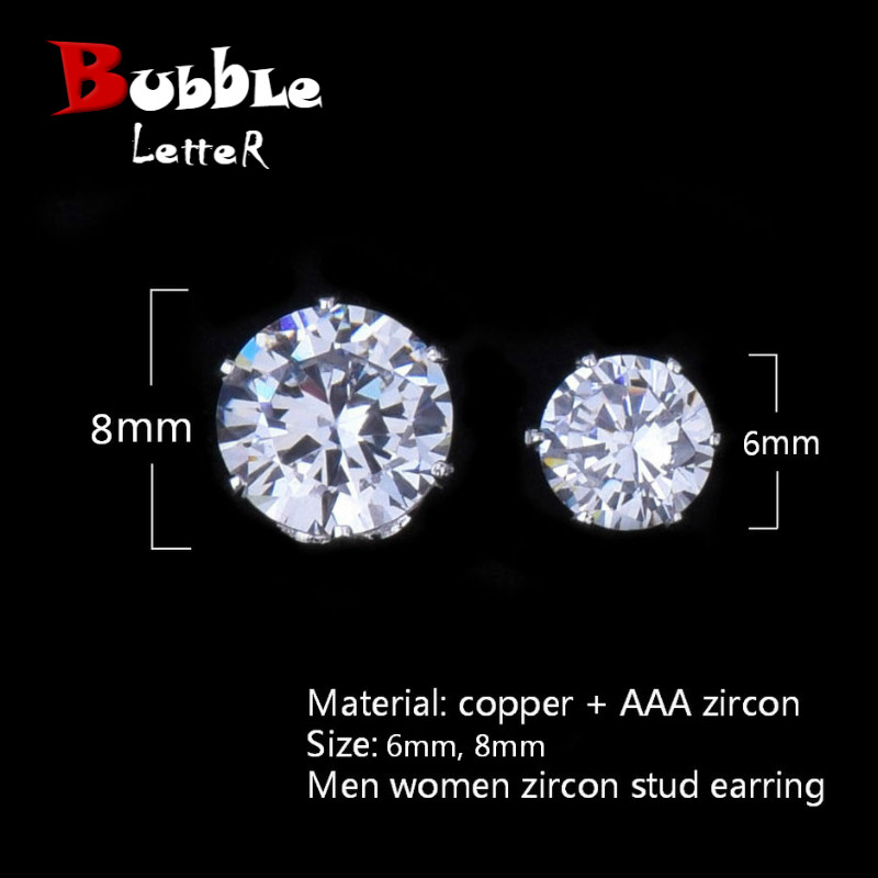 6mm/8mm AAA Zircon CZ Round Stud Earrings Hip hop Jewelry Men Copper Material Iced Bling Push-back