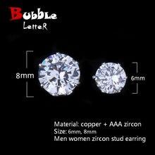 Brincos redondos hip hop zircão 6mm/8mm, joias masculinas de cobre, com gelo-voltar