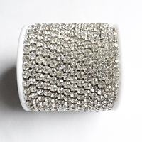 10yards Roll Silver Base Clear Crystal SS6 To SS18 Intensive Silver Base New Style Diy Beauty