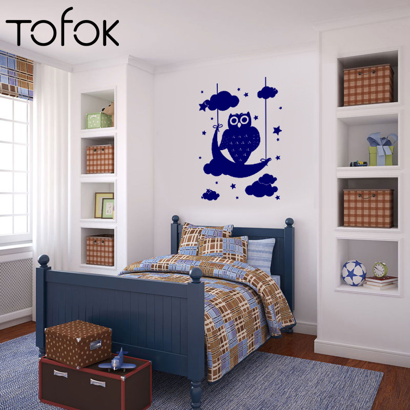 Tofok Cartoon Owl Clouds Stars Moon Wall Stickers For Kids Room Nursery Bedroom Art Vinyl Mural Decals Wallpaper Home Decoration