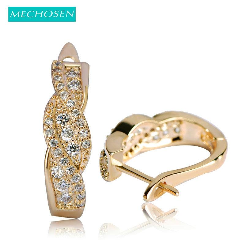 MECHOSEN Copper Gold Color Stud Earrings For Women Bridal Wedding Jewelry Cubic Zirconia Brincos Korea Innovative Ears Bijoux