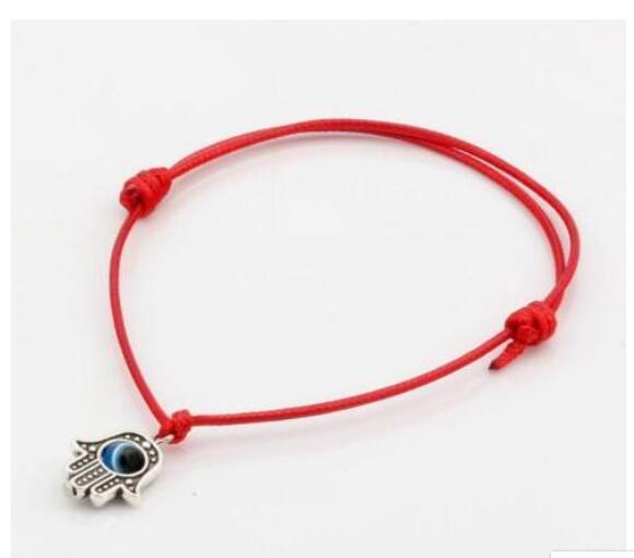 Women's Evil Eye & Hamsa Silver Charm Red String Protection Bracelet - 18 CM tt6iK