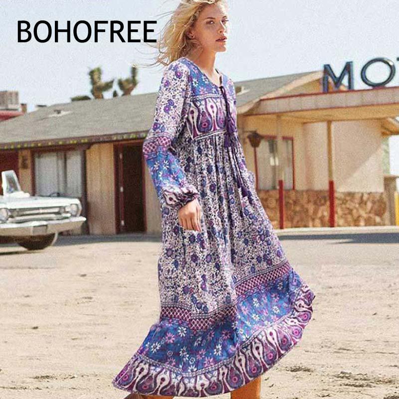 BOHOFEE Folk Down Long Dress Long Sleeve Floral Cotton Vestidos Mujer Vintage Boho Style Maxi Dress Women Gypsy Fable Dress