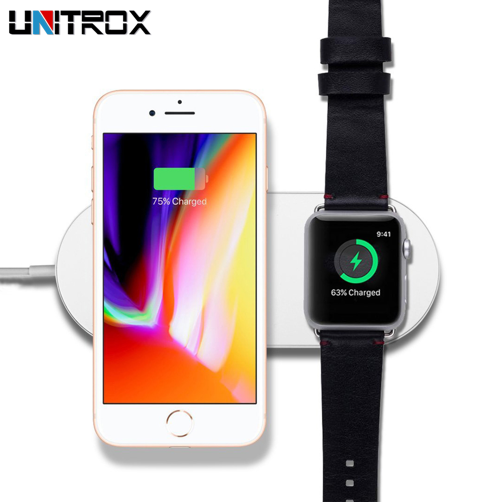 цена на 2 in 1 Mini AirPower Wireless Charger For iPhone X 8 8 Plus For Apple Watch Wireless Fast Charging Pad For Samsung Galaxy Phone