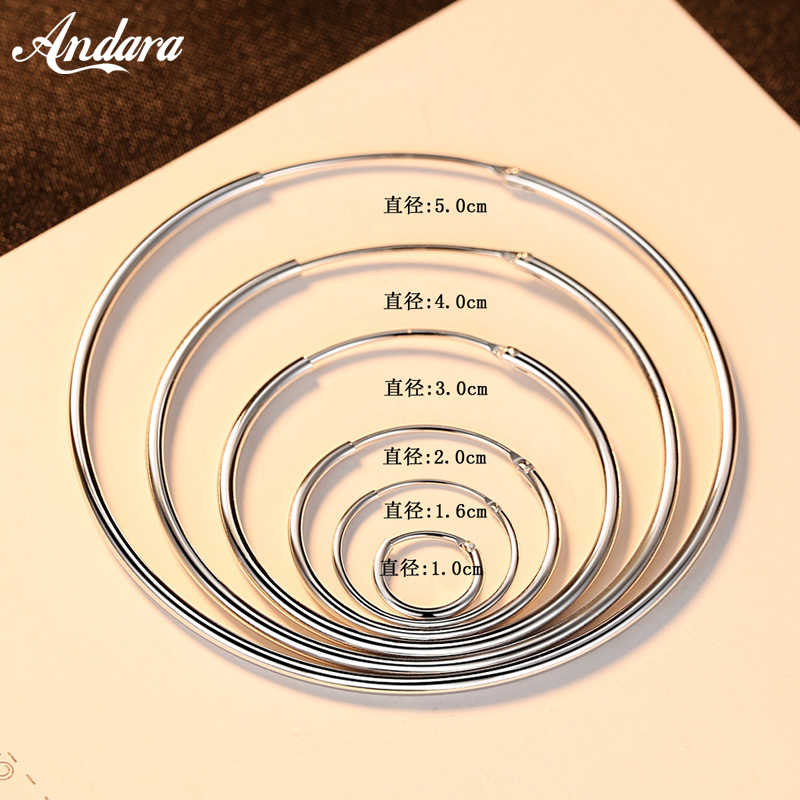 Authentic 925 Sterling Silver Simple Fashion 3cm/5cm Circle Round Hoop Earring for Women Trendy Jewelry