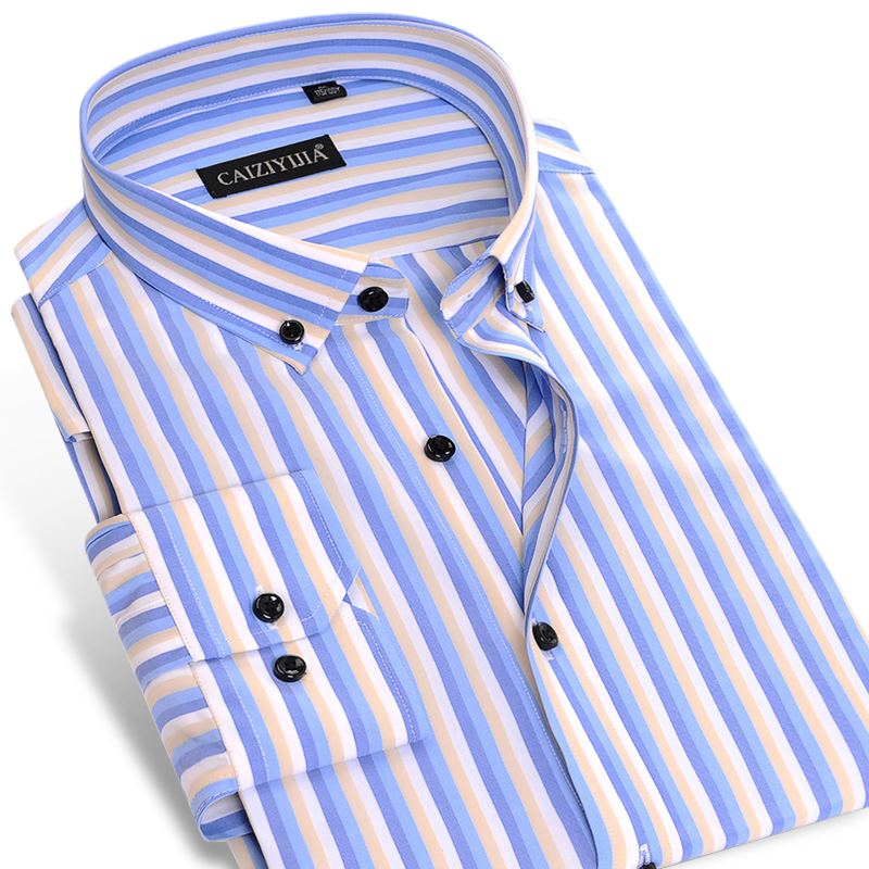 Men's Colored Vertical Striped Bamboo Fiber Dress Shirts Smart Casual Contrast Slim Fit Long Sleeve Thin Tops Button Down Shirt