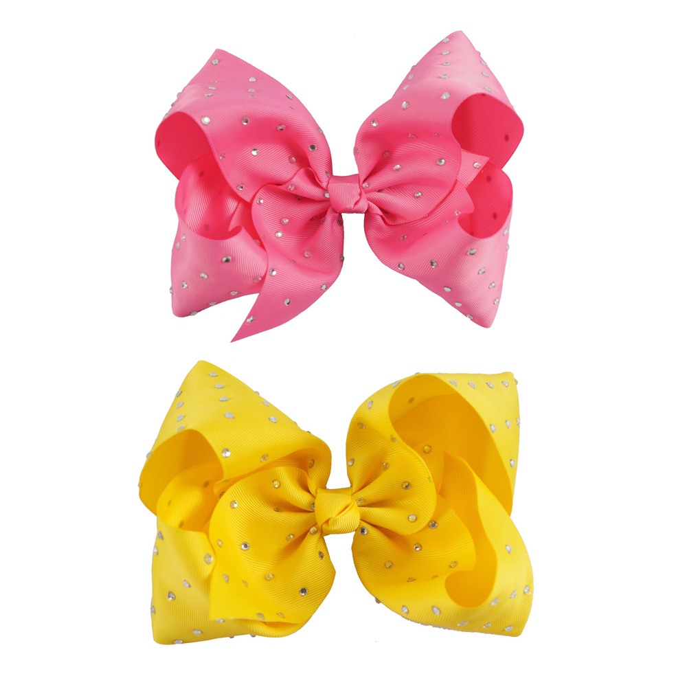 2 Pcs/lot 7 inch Boutique Rhinestone Hair Bows for Girls Grosgrain Ribbon Bow with Clip Kids Party Hair Accessories 5 inch big hair bow girls dot butterfly ribbon rainbowhair bows with clip boutique hairclip hairpin headwear hair accessories