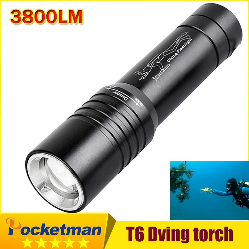 Underwater Zoomable 3800LM CREE T6 LED Diving Light Waterproof Scuba Diving Flashlight Dive Torch Lamp Diver LED Flash Light ru zk30 cree xm l2 diving led flashlight 5000lm zoomable torch lantern dive waterproof underwater 120m military grade flashlight