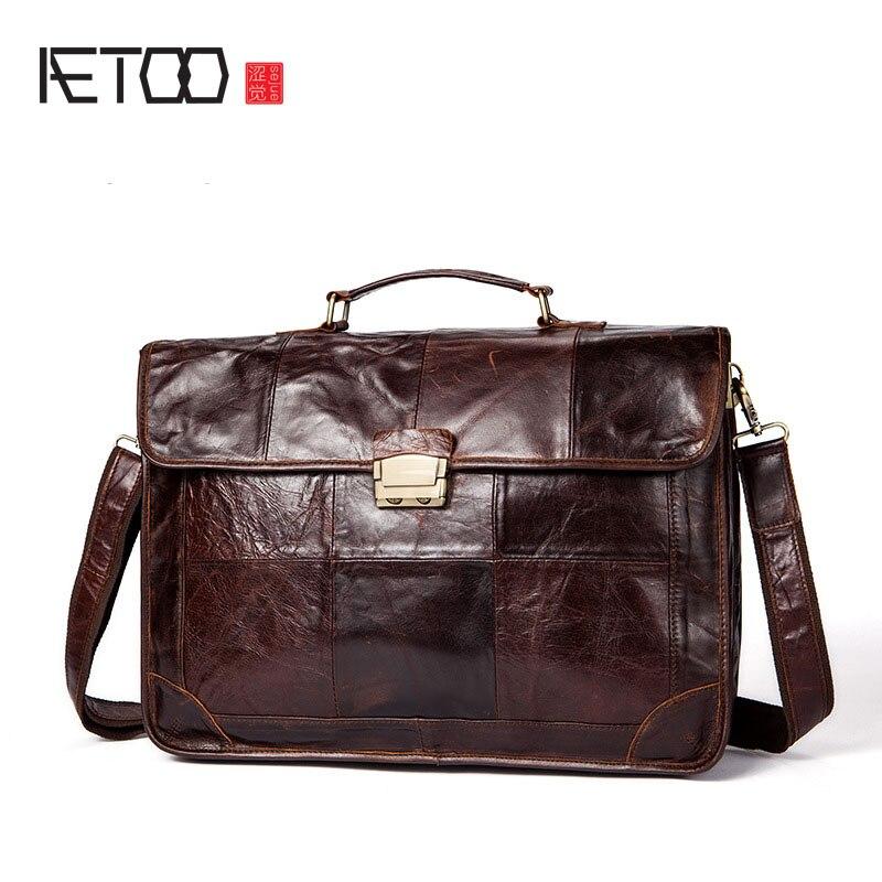 AETOO Men's business briefcase leather men's shoulder Messenger bag vintage men's bag redfox сумка full size business messenger 1000 черный