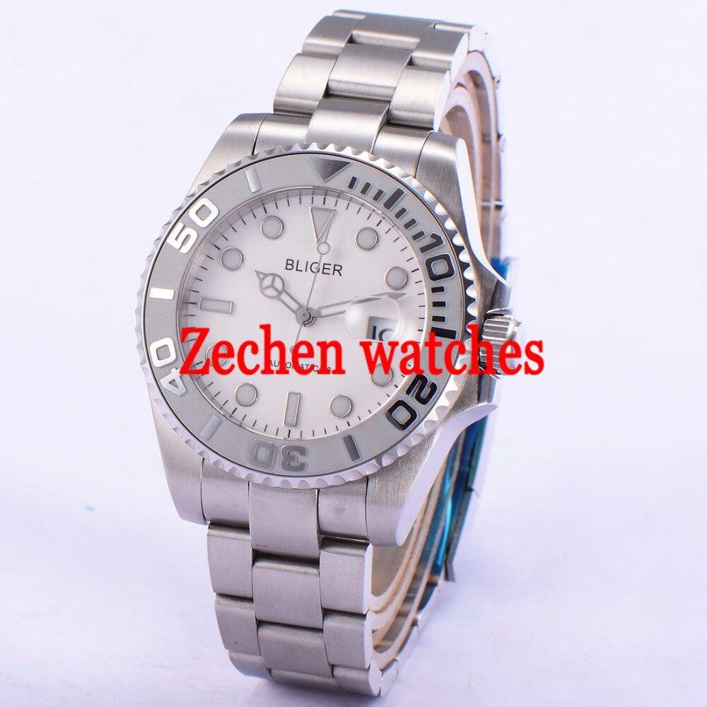 Bliger 43mm Luminous Sapphire glass Automatic Date Day Mens Watch Wrist watch цена и фото