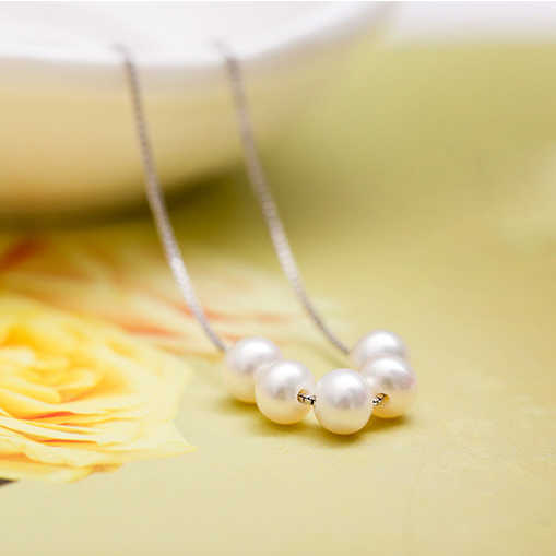 Zhboruini Fashion Kalung Perhiasan Mutiara Mutiara Air Tawar Alami 925 Sterling Silver Jewelry Lima Mutiara Kalung Pesona untuk Wanita