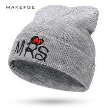 8f5881bc690 Mùa đông mới bé có thể điều chỉnh dễ thương phim hoạt hình in mũ ấm crochet  chữ MRS đan đẹp trẻ em trẻ em thêu mũ Mickey cậu bé