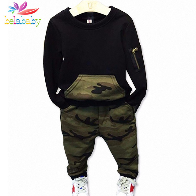 Belababy Boys Clothing Sets Baby Spring Sports Casual Long Sleeve Shirt+Pants Kids 2PCS Camouflage Kids Tracksuit For Boys