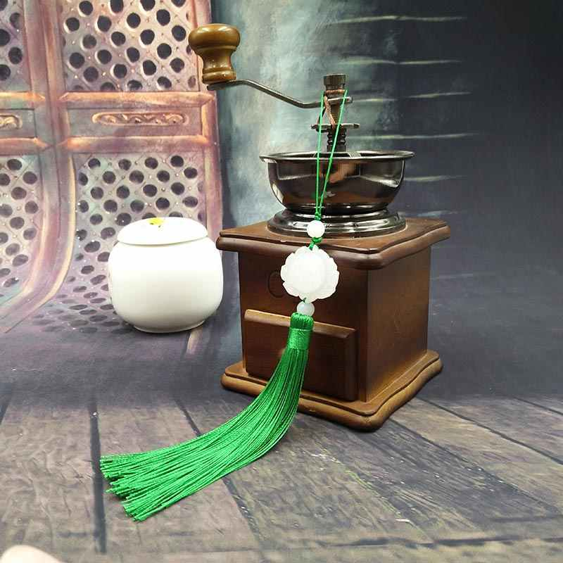 Lotus พู่พัดลมสไตล์จีน Retro ตกแต่งจี้โบราณสีขาวหยก Handmade จี้พัดลม